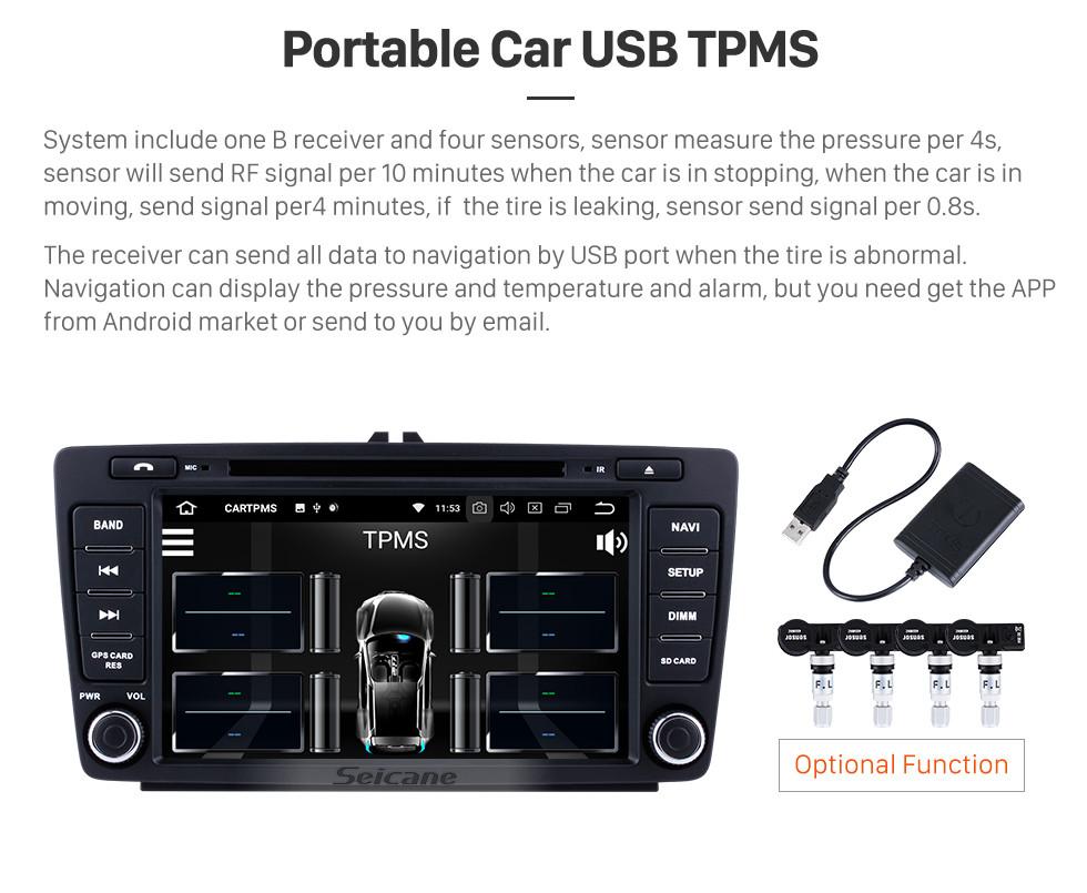 Seicane 2012 2013 2014 Skoda Octiva Android 8.0 Radio GPS Navi Stereo Upgrade Support Bluetooth Music DVD Player USB SD WIFI 1080P Video DVR Auto A/V Steering wheel control