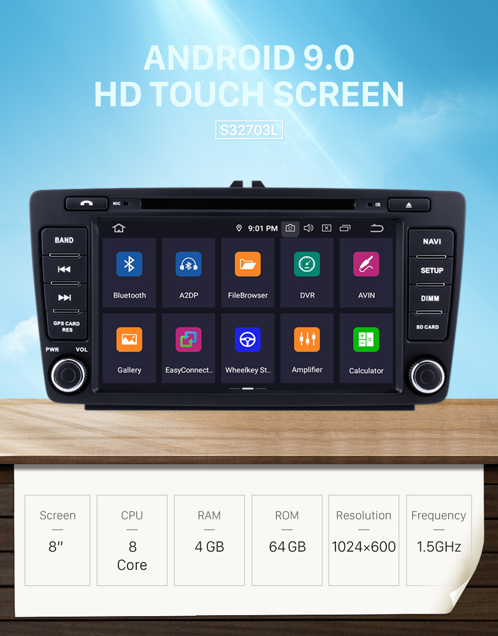 Seicane 8 inch Android 9.0 Radio for 2013 2014 Skoda Octiva with DVD GPS Bluetooth HD 1024*600 Touch Screen OBD2 DVR 1080P 3G WIFI Steering Wheel Control Rearview Camera