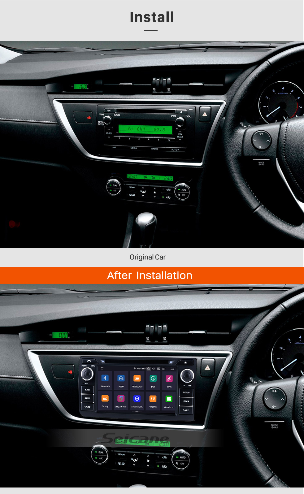 Seicane Android 9.0 Radio GPS for 2013 Toyota Auris with Navigation System WIFI OBD2 Bluetooth HD 1024*600 Touch Screen DVR TV Video Steering Wheel control Backup Camera