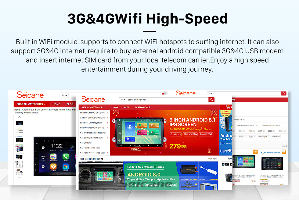 Seicane OEM FIAT OID PUNTO Android 9.0 GPS-Navigationssystem mit Radio-DVD-Spieler Touchscreen Bluetooth Spiegel Verknüpfung DVR OBD2 DAB+ Lenkradkontrolle Backup-Kamera