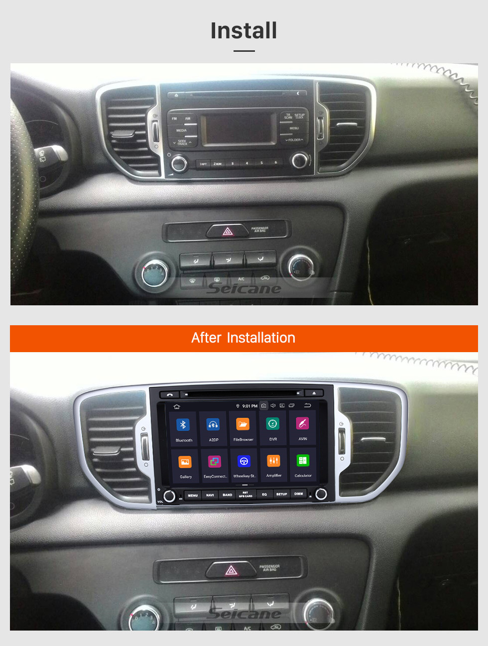 Seicane 8 inch 2016 Kia Sportage Android 8.0 DVD Player Radio GPS Navigation System with 1024*600 Touchscreen Bluetooth Music 4G WIFI Backup Camera  DVR  DAB+ TPMS