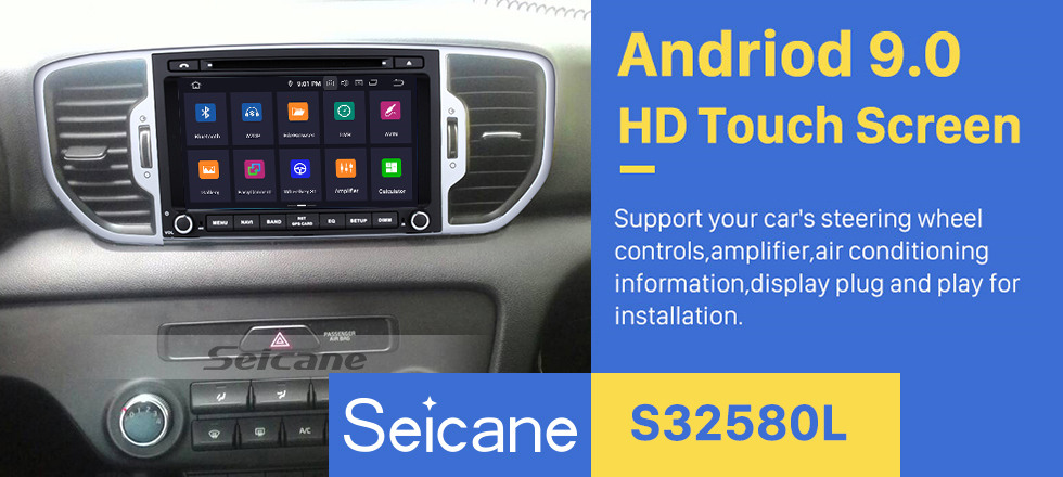 Seicane 8-Zoll-2016 Kia Sportage Android 8.0 DVD-Player-Radio GPS-Navigationssystem mit 1024 * 600 Touchscreen Bluetooth Musik-4G WIFI Backup-Kamera DVR DAB + TPMS