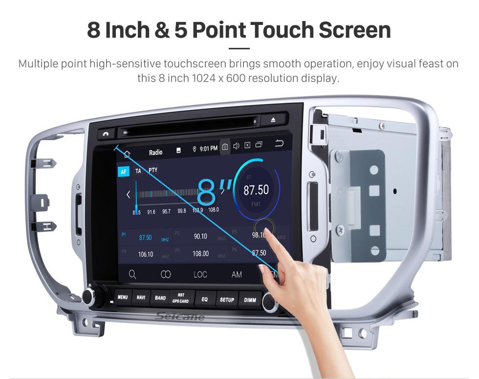 Seicane 8 Zoll 1024 * 600 Touchscreen Android 9.0 2011-2015 2016 2017 Kia SPORTAGE R Bluetooth-Radio GPS-Navigation Autoradio mit Spiegel Link 3G Wifi USB DVR Lenkradsteuerung