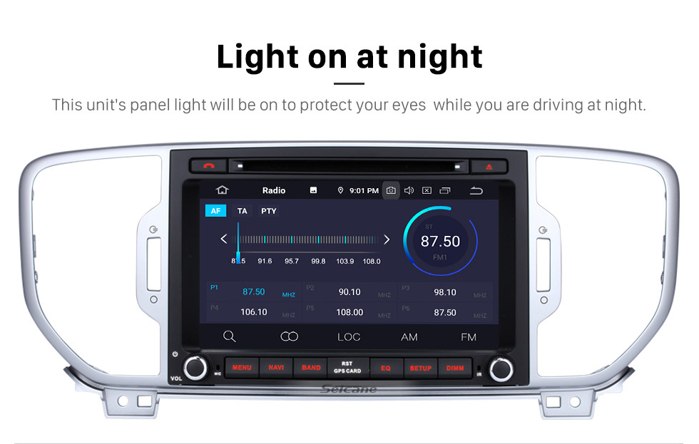 Seicane 8 Inch 1024*600 Touchscreen Android 9.0 2011-2015 2016 2017 Kia SPORTAGE R Bluetooth Radio GPS Navigation Car Stereo with Mirror Link 3G Wifi USB DVR Steering Wheel Control