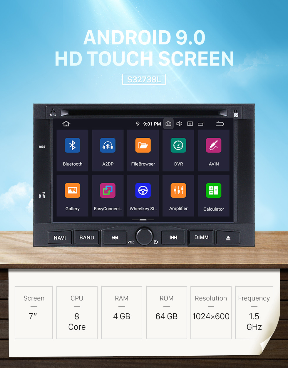 Seicane 2009 2010 2011 PEUGEOT 3008 Android 9.0 Radio DVD player GPS navigation system with HD 1024*600 touch screen Bluetooth Mirror link OBD2 DVR Rearview camera TV 1080P Video 3G WIFI Steering Wheel Control USB