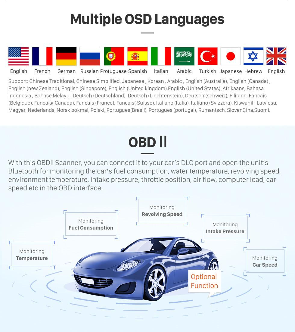 Seicane 2009 2010 2011 PEUGEOT 3008 Android 9.0 Radio DVD-Player GPS-Navigationssystem mit Touchscreen HD 1024 * 600 Bluetooth Spiegel-Verbindung OBD2 DVR Rückfahrkamera TV 1080P Video 3G Wlan Lenkradsteuerung USB