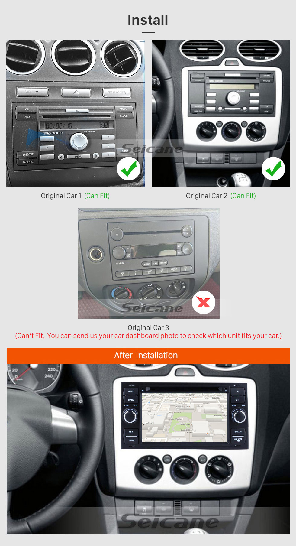 Seicane Aftermarket GPS Android 8.0 Radio DVD Player for 2004 2005 2006 2007 2008 Ford Focus Support 3D Navigation Bluetooth USB WIFI Mirror Link DVR Rearview Camera 1080P Video
