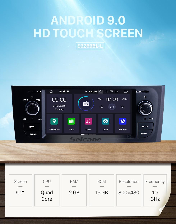 Seicane Neueste Android 9.0 Radio GPS Stereo für 2005 2006 2007 FIAT OID PUNTO Unterstützung Bluetooth Musik DVD Spieler 3D Navigation USB SD DVR WIFI Spiegel Link Lenkradsteuerung
