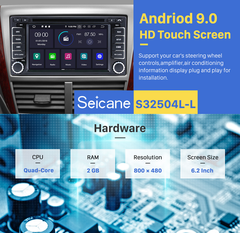 Seicane Android 9.0 DVD Player 2008-2013 SUBARU Forester XV Impreza  Radio Upgrade with Bluetooth GPS Navigation Head Unit Touch Screen 3G WiFi Mirror Link AUX Steering Wheel Control Rearview Camera 1080P video