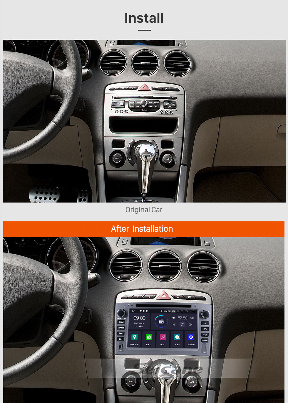 Seicane In Schuss DVD Spieler Android 9.0 Radio GPS Navi Kopf Einheit für 2010 2011 PEUGEOT 408 Unterstützung Bluetooth Multimedia Player 1080P Video USB SD OBD2 WIFI HD Touch Screen
