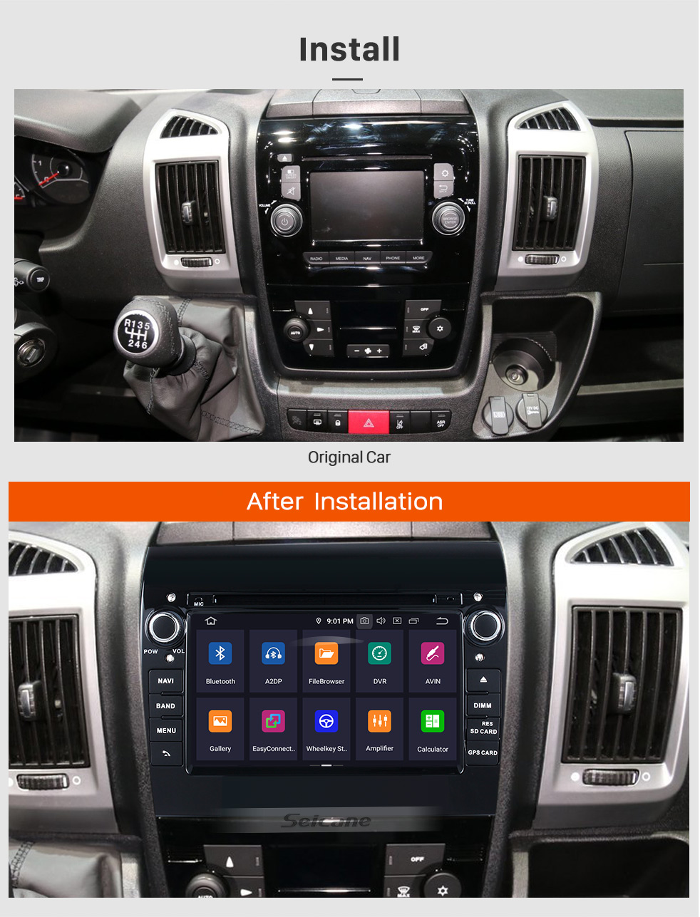 Seicane Aftermarket 7 inch Android 9.0 2007-2016 Fiat Ducato/Peugeot Boxer Radio DVD Player GPS Navigation System with Bluetooth 3G Wifi Mirror Link Steering Wheel Control Backup Camera DVR OBD2 DAB+