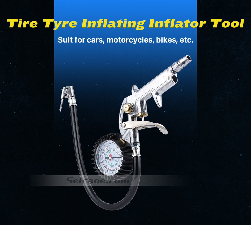 Seicane 2016 New Arrival Hot Sale Air Auto Motorcycle Truck Tire Tyre Inflating Inflator Tool Pressure Dial Gauge To Save Gas Clip on Design Handsfree Chuck Use