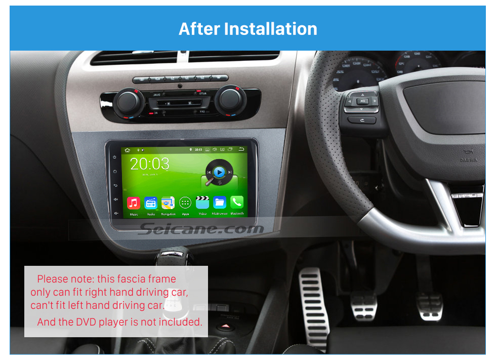 Seicane 2 Din Fascia for 2005-2011 Seat Leon right hand driving Car Radio Head Unit GPS Navigation plate panel Frame