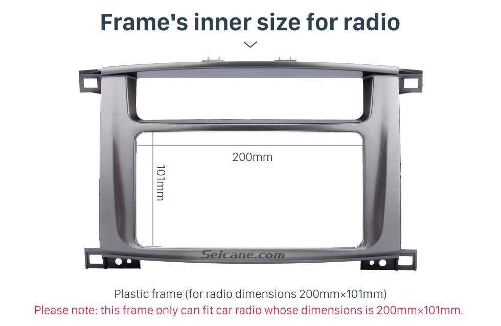 Seicane Top 202*102mm Double Din 1998-2008 Toyota LAND CRUISER 100 Lexus LX-470 Car Radio Fascia Surround Panel Trim Bezel DVD Frame