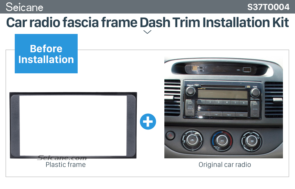 Seicane 173*98mm Double Din 2006 Toyota Camry Vios Corolla Wish Altis 4500 Car Radio Fascia Frame Panel Installation Kit CD Trim
