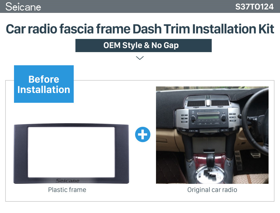 Seicane 2 Din 2009 Toyota Reiz Mark X Car Radio Fascia DVD panel Frame Dash Kit Audio Cover Trim Installation Kit