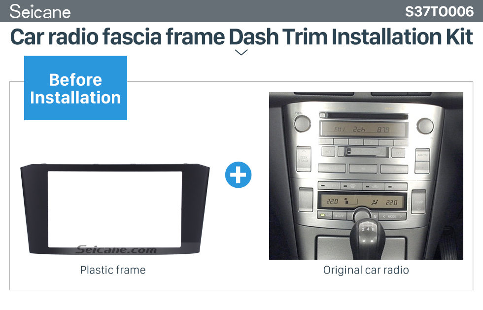 Seicane Black Double Din 2003-2008 Toyota Avensis Car Radio Fascia DVD Frame Stereo Player Face Plate Panel Adaptor