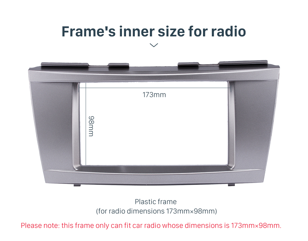 Frame's inner size for radio 173*98mm Double Din Car Radio Fascia for 2006-2011 Toyota Camry Audio Cover Frame Installation Kit Face Plate