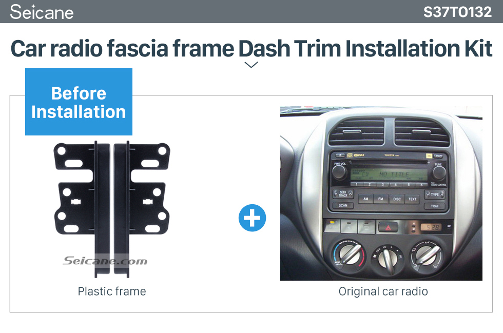 Seicane 13mm Double Din Toyota Ear Sides Car Radio Fascia Dash Mount Kit Face Plate Frame Panel Autostereo Adapter