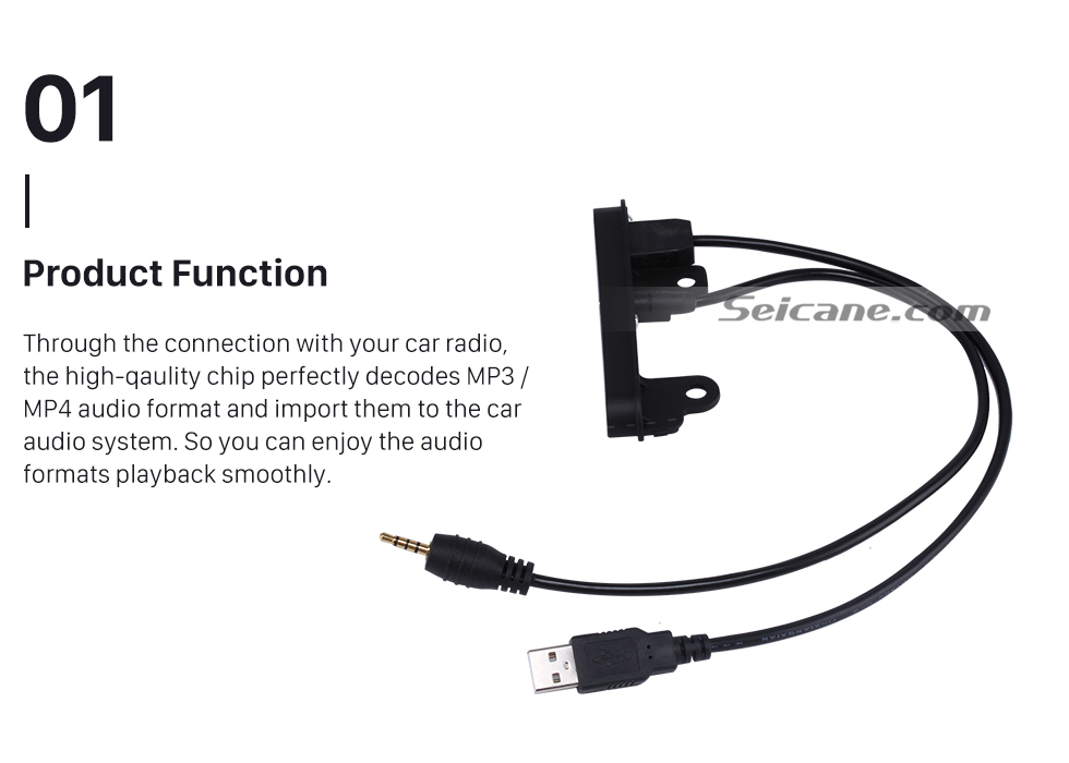 Seicane Multi-function Car Audio Refitting Cable Plug Adapter for 2 Din Toyota Support USB Disk 3.5MM Audio Input