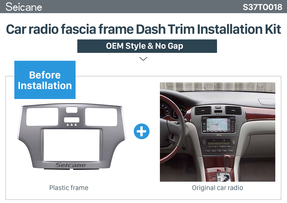 Seicane Grey Double Din 2008 Toyota Windom ES300 Car Radio Fascia Stereo Dash Kit Surround Panel DVD Frame
