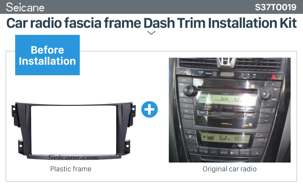 Seicane Trendy Double Din 2002-2007 Toyota Caldina Car Radio Fascia Stereo Dash CD Trim Panel Frame Installation Kit