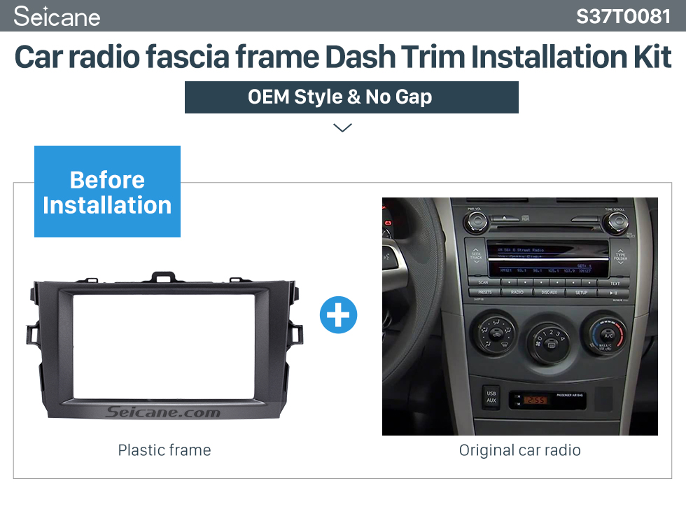 Seicane Grey 2Din 2008 2009 2010 Toyota Corolla Car Radio Fascia Trim Installation Stereo Dash CD Dashboard Panel Frame