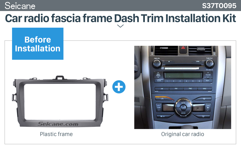 Seicane Silver Double Din 2008 2009 2010 Toyota Corolla Car Radio Fascia Dash Installation Kit DVD Frame Plate Cover