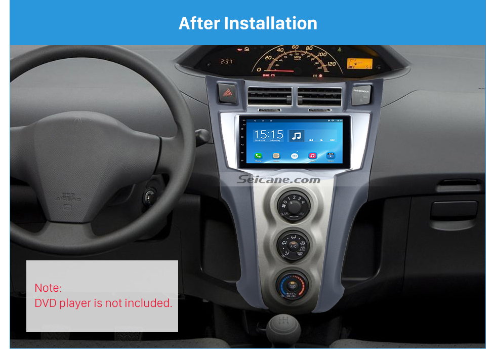 Seicane Silver Double Din 2005-2011 Toyota Yaris Vitz Platz Car Radio Fascia CD Trim Installation Trim Bezel Audio frame