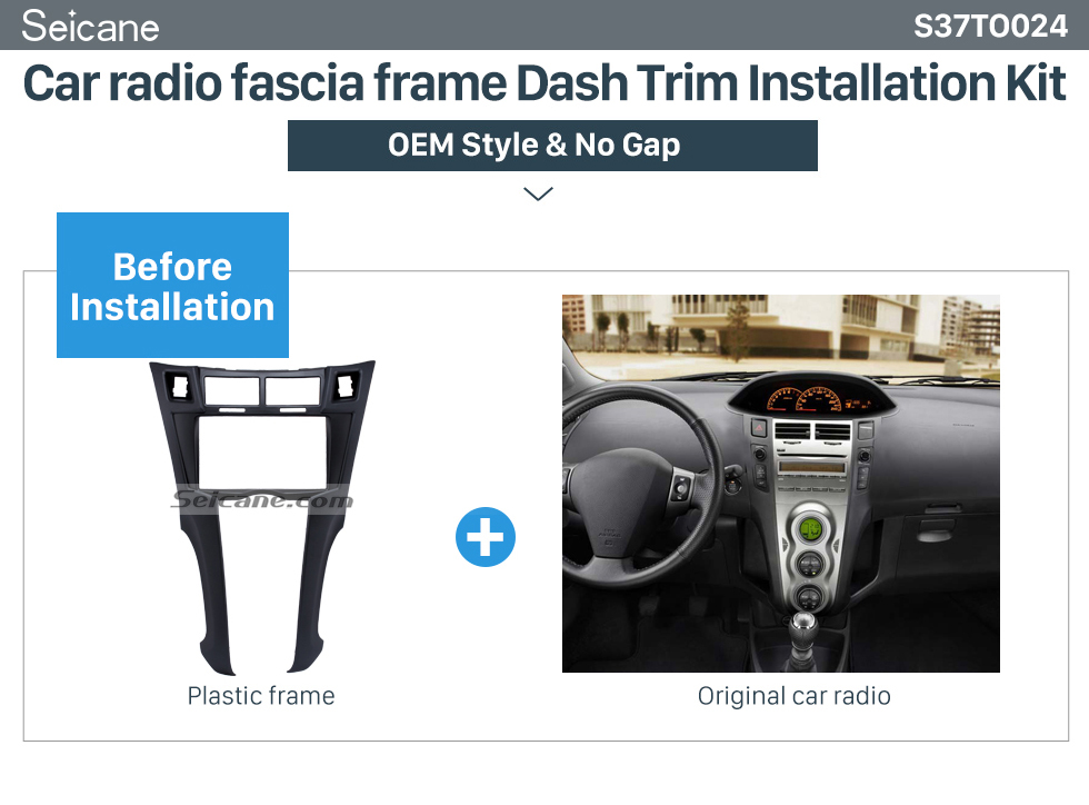 Car radio fascia frame Dash Trim Installation Kit Black 2Din 2005-2011 Toyota Yaris Vitz Platz Car Radio Fascia Stereo Dash Trim Installation Fitting Frame