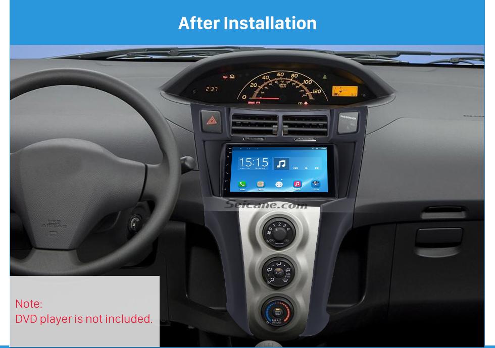 After Installation Black 2Din 2005-2011 Toyota Yaris Vitz Platz Car Radio Fascia Stereo Dash Trim Installation Fitting Frame