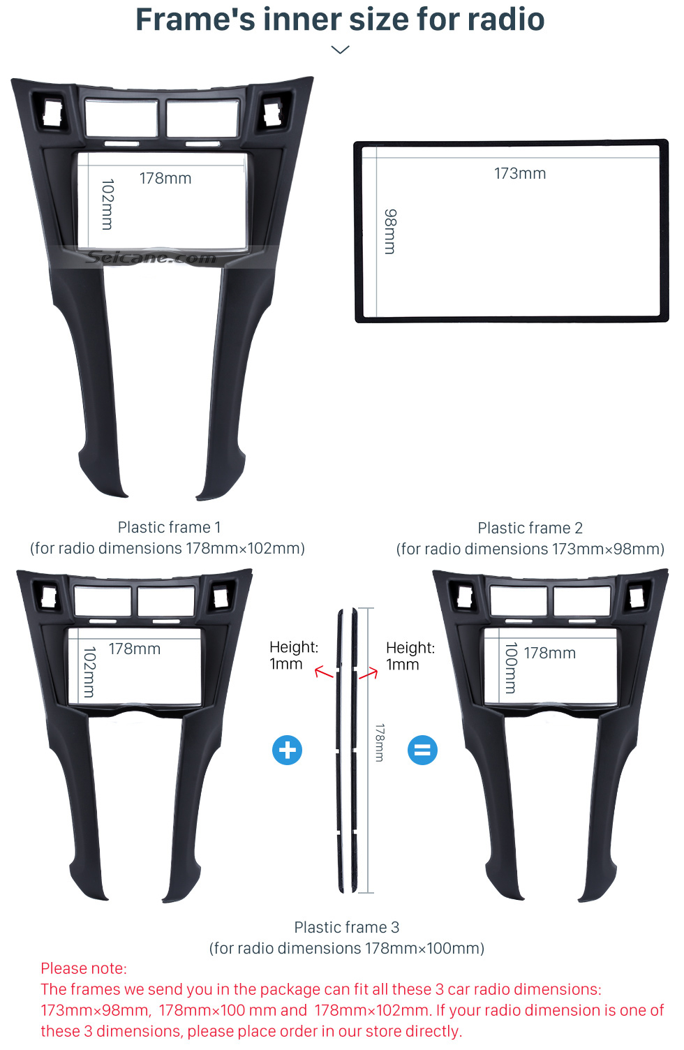 Frame's inner size for radio Black 2Din 2005-2011 Toyota Yaris Vitz Platz Car Radio Fascia Stereo Dash Trim Installation Fitting Frame