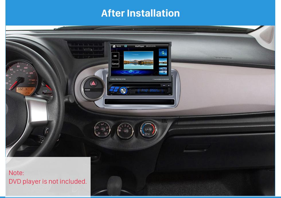 After Installation Perfect 1Din 2012 Toyota Yaris Vitz LHD Car Radio Fascia Audio Fitting Adaptor Dash Kit Face Plate Installation Frame