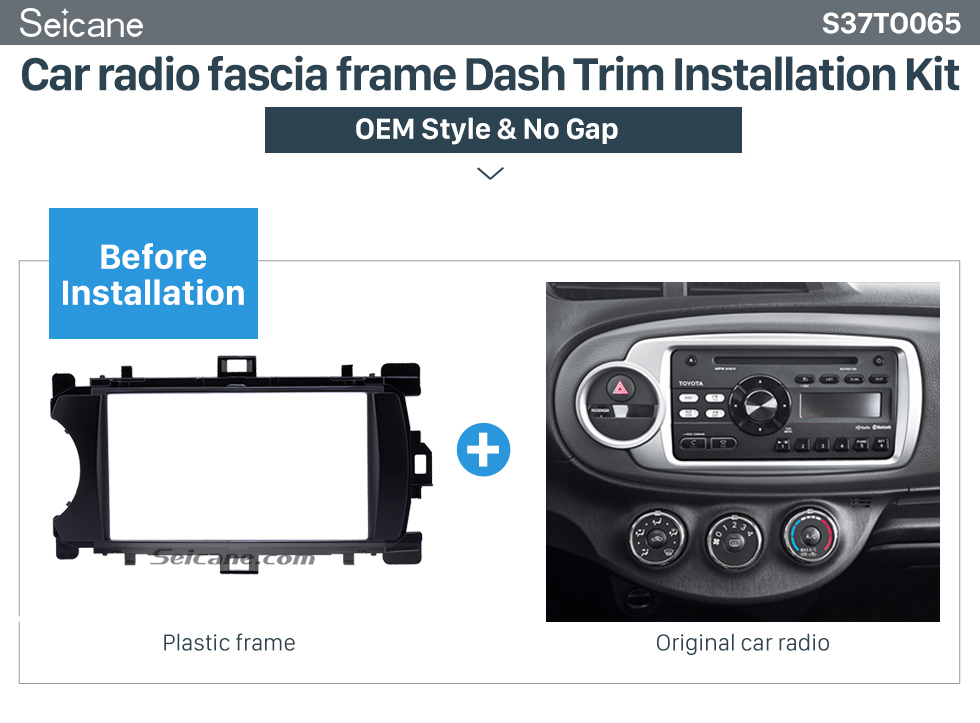 Car radio fascia frame Dash Trim Installation Kit  Ingenious Double Din 2012 Toyota Yaris Vitz LHD Car Radio Fascia Stereo Dash CD Trim Bezel Audio Cover Frame