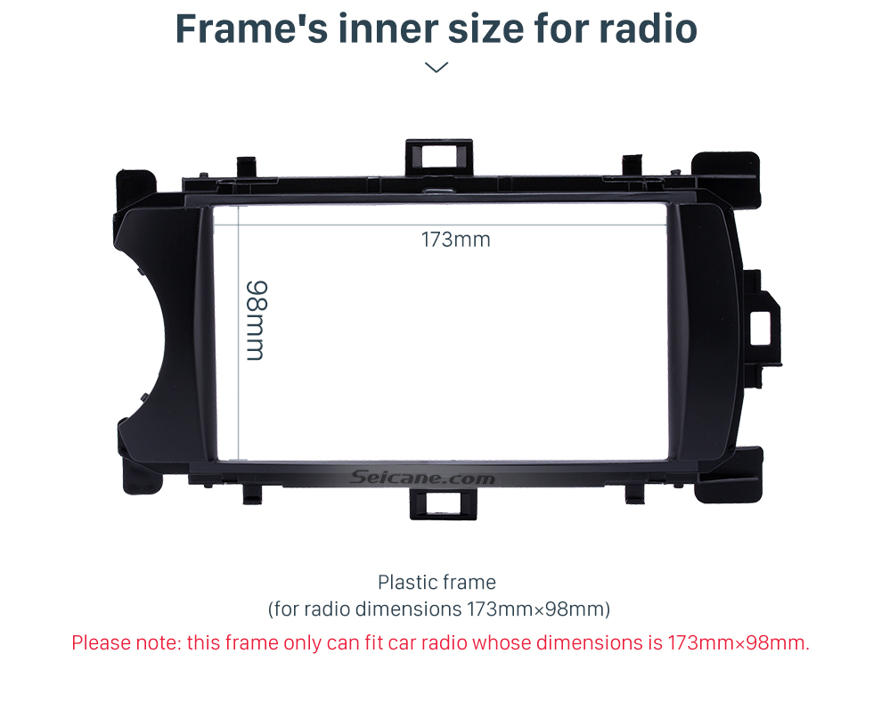 Frame's inner size for radio Ingenious Double Din 2012 Toyota Yaris Vitz LHD Car Radio Fascia Stereo Dash CD Trim Bezel Audio Cover Frame