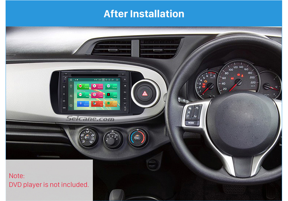 After Installation Deluxe 2Din 2012 Toyota Yaris Vitz RHD Car Radio Fascia Face Plate DVD Frame Stereo Player Dash Kit