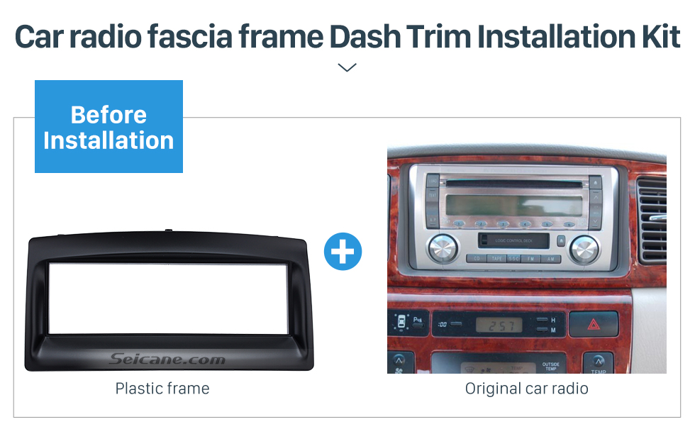 Seicane Greatt 1Din 2003 2004 2005 2006 Toyota Corolla Car Radio Fascia Surround Panel Dash Mount Kit CD Trim