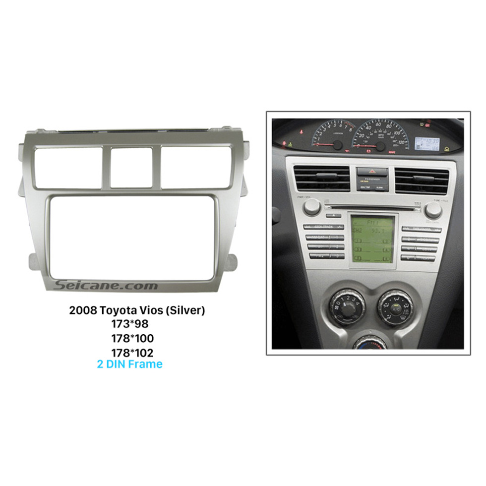 Seicane Silver Double Din 2008 Toyota Vios Car Radio Fascia Dash Mount Kit Install Frame Panel Plate