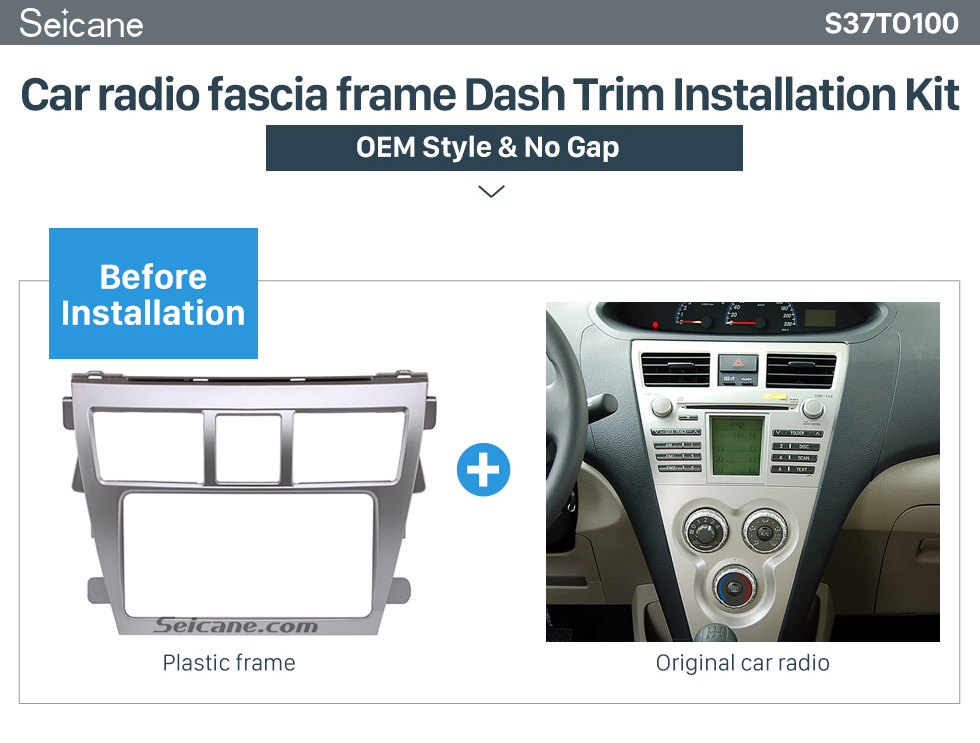 Car radio fascia frame Dash Trim Installation Kit  Silver 202*102mm 2Din 2008 Toyota Vios Car Radio Fascia CD Trim Frame Installation Face Plate Audio Player