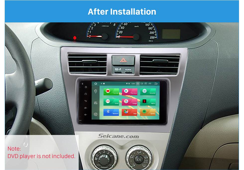 After Installation Silver 202*102mm 2Din 2008 Toyota Vios Car Radio Fascia CD Trim Frame Installation Face Plate Audio Player