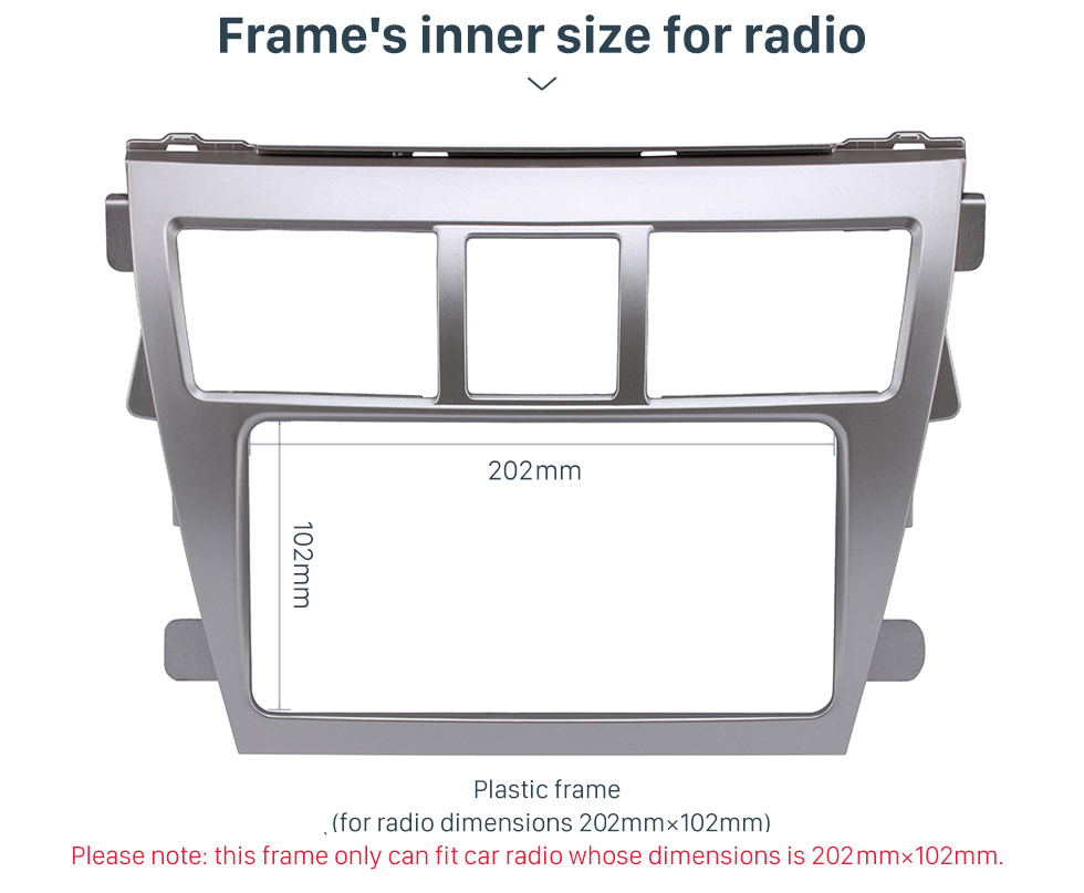 Frame's inner size for radio Silver 202*102mm 2Din 2008 Toyota Vios Car Radio Fascia CD Trim Frame Installation Face Plate Audio Player