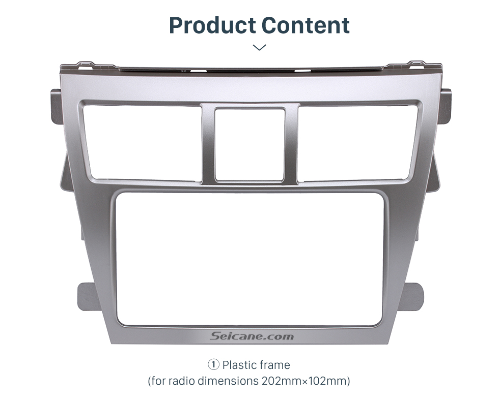 Product Content Silver 202*102mm 2Din 2008 Toyota Vios Car Radio Fascia CD Trim Frame Installation Face Plate Audio Player
