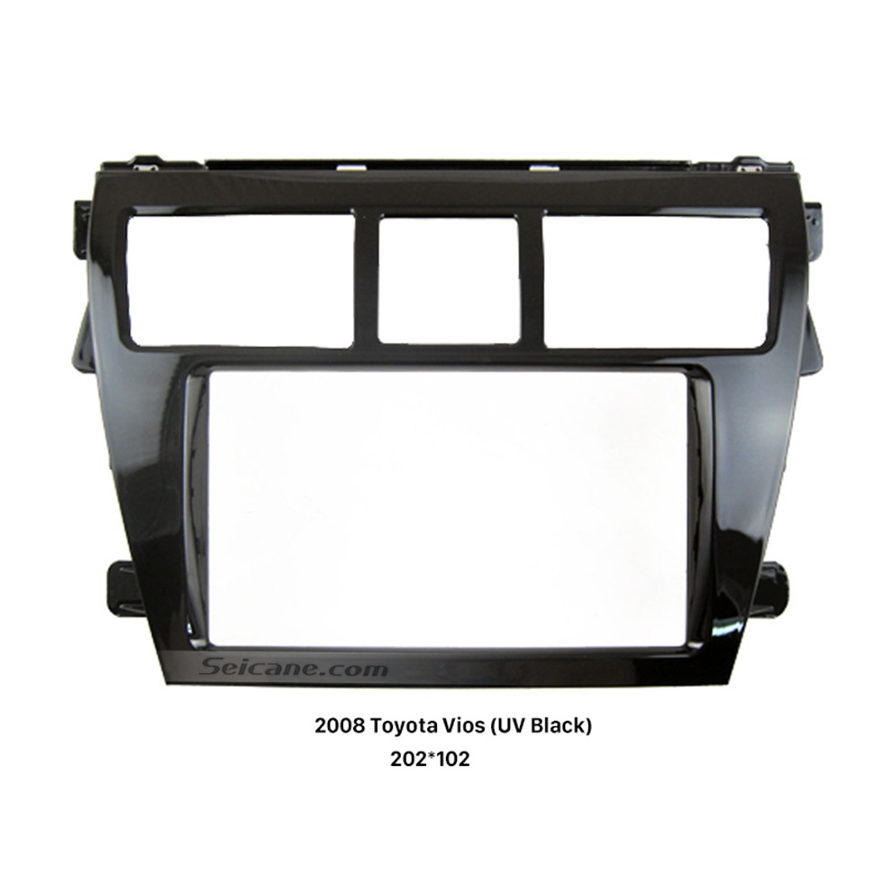 Seicane UV Black 202*102mm 2Din 2008 Toyota Vios Car Radio Fascia Dash Kit DVD Frame Face Plate