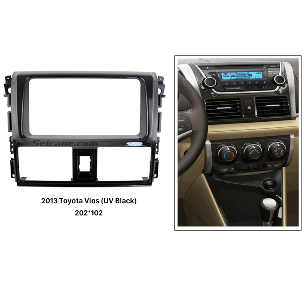 Seicane Parfait Double Din 2013 Kit d'installation Interface Dash CD stéréo Radio Fascia Toyota Vios voiture