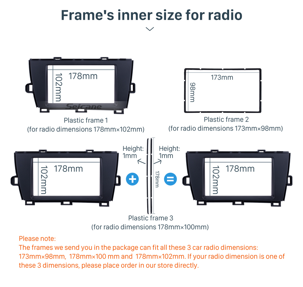 Seicane Well-designed Double Din 2010 Toyota Prius LHD Car Radio Fascia Surround Panel Dash Kit Face Plate Frame