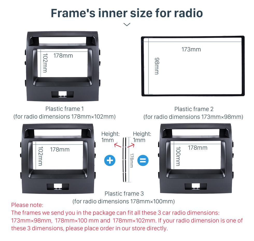 Seicane Good Double Din 2008 Toyota Land Cruiser 200 Car Radio Fascia Panel Kit Install Frame Car Styling