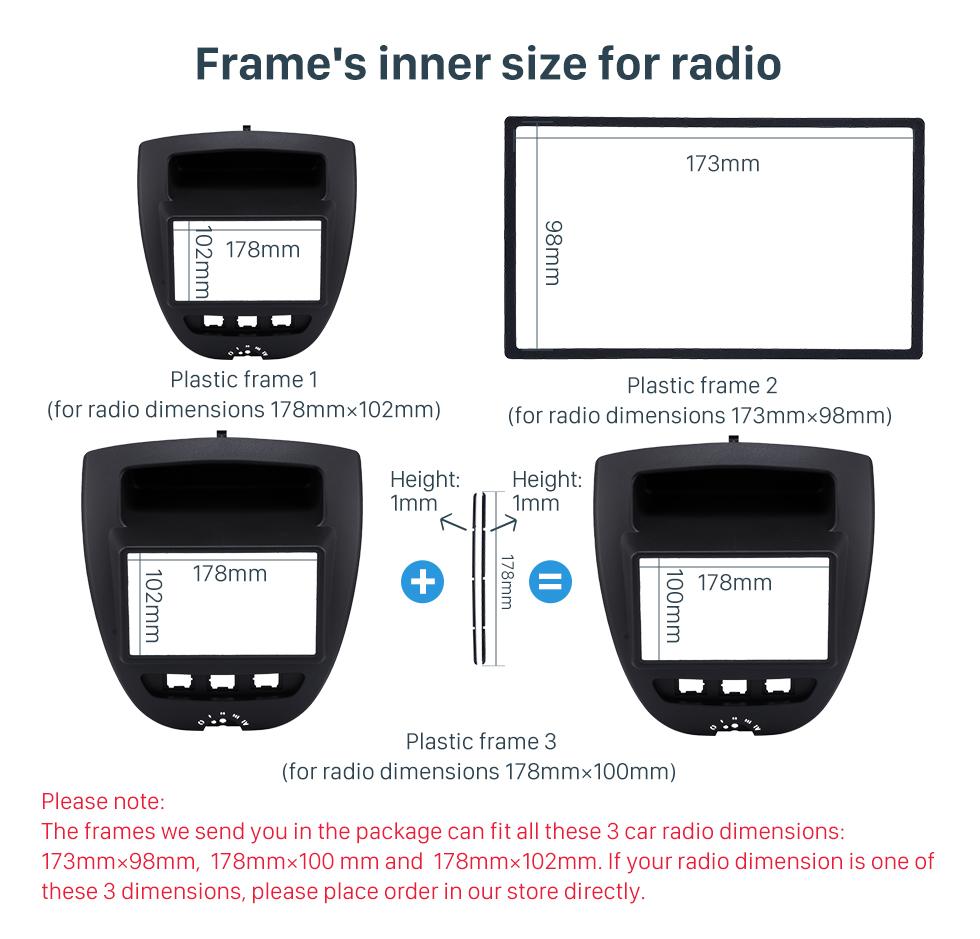 Frame's inner size for radio Great 2Din Toyota Aygo Citroen C1 Peugeot 107 Car Radio Fascia DVD Panel Stereo Dash CD Trim Installation Frame