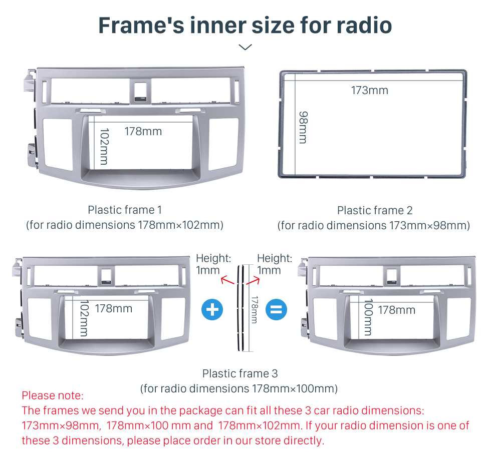 Seicane Silver Double Din 2006 Toyota Avalon Car Radio Fascia Audio Fitting Adaptor Stereo Dash Frame CD Trim