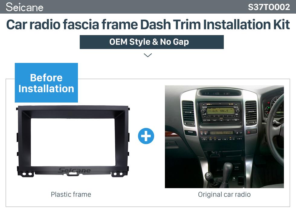 Seicane Black Double Din 2009 Toyota Prado 120 Car Rádio Fascia CD Trim Painel Painel Painel de Estéreo