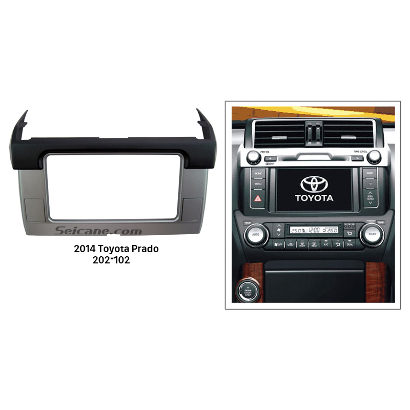 Seicane Black Silver 2 Din 2014 Toyota Prado Car Radio Fascia Stereo Player Dash Mount Kit DVD Frame